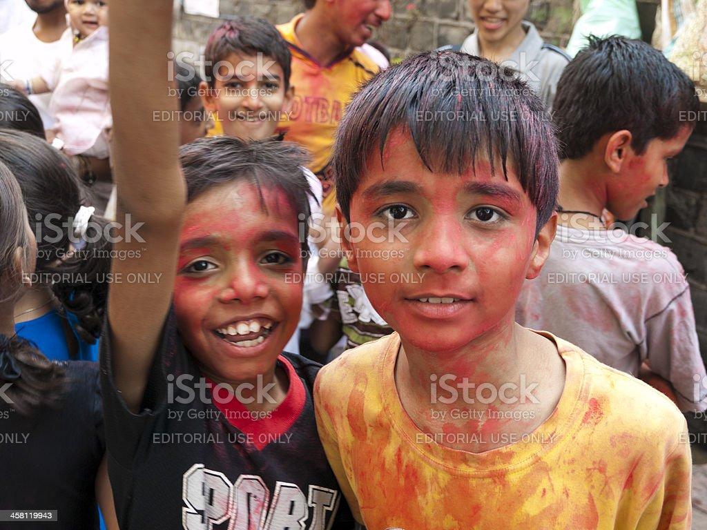 Celebration in the Dharavi Slum stock photo
