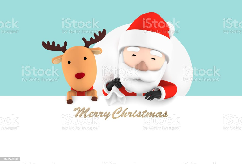 Celebration Merry Christmas  Santa Claus carrying bag of gifts with reindeer stock photo