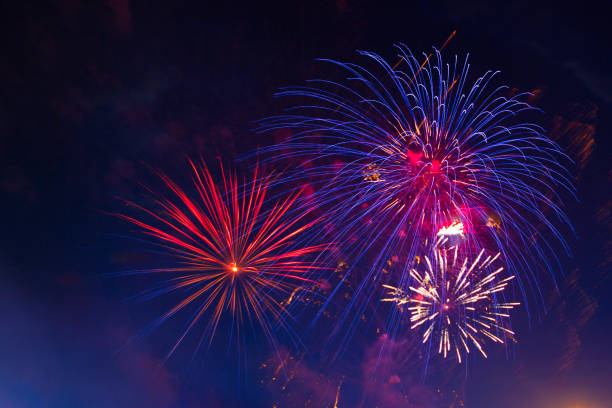 Celebration multicolored fireworks, copy space. 4 of July, 4th of July, Independence Day beautiful fireworks stock photo