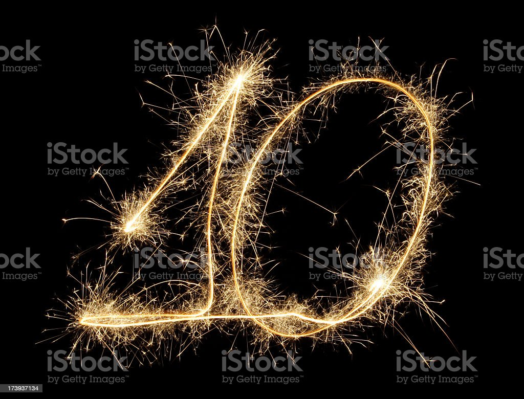 Celebration numbers series with black background stock photo
