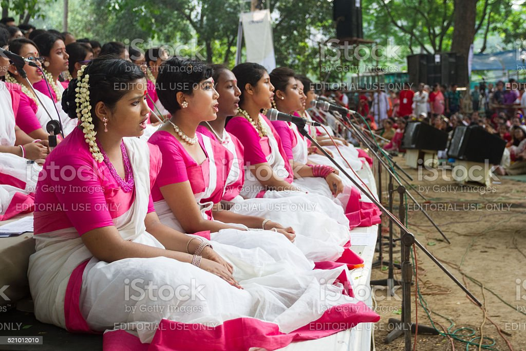 Celebration of Bengali New Year - 1423 in Dhaka, Bangladesh stock photo
