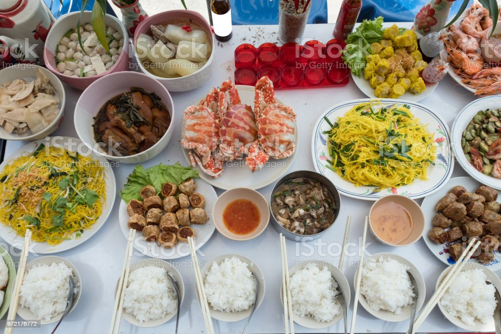 Celebration of Chinese culture ancestors and god with various foods meat and dessert stock photo