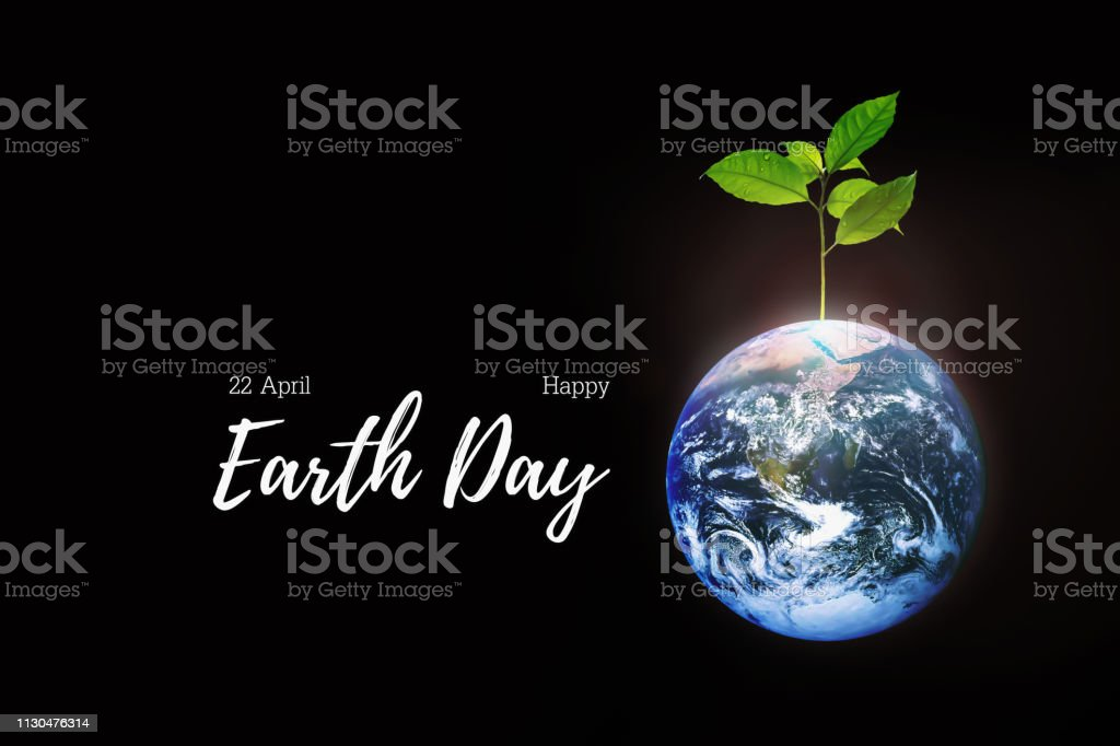 Celebration of Earth Day on 22 April of every year with symbol of earth and growth of small freshness and strong tree on black background. stock photo