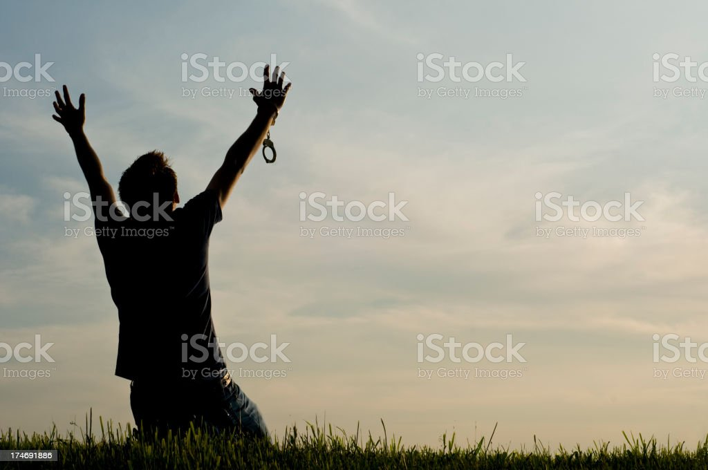 A celebration of freedom expression of raised arms stock photo