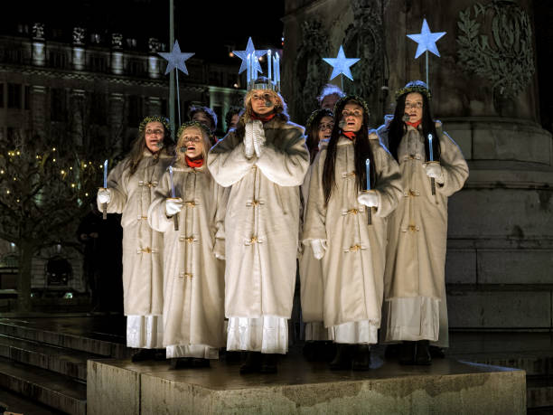 Celebration of St. Lucy's Day in Malmo, Sweden stock photo