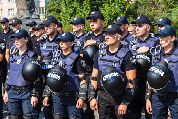Celebration of the third anniversary of the National Police of Ukraine in Uzhgorod Uzhgorod, Ukraine - July 6, 2018: Construction of the police officers during the celebration of the third anniversary of Ukraine's National Police. police meeting stock pictures, royalty-free photos & images