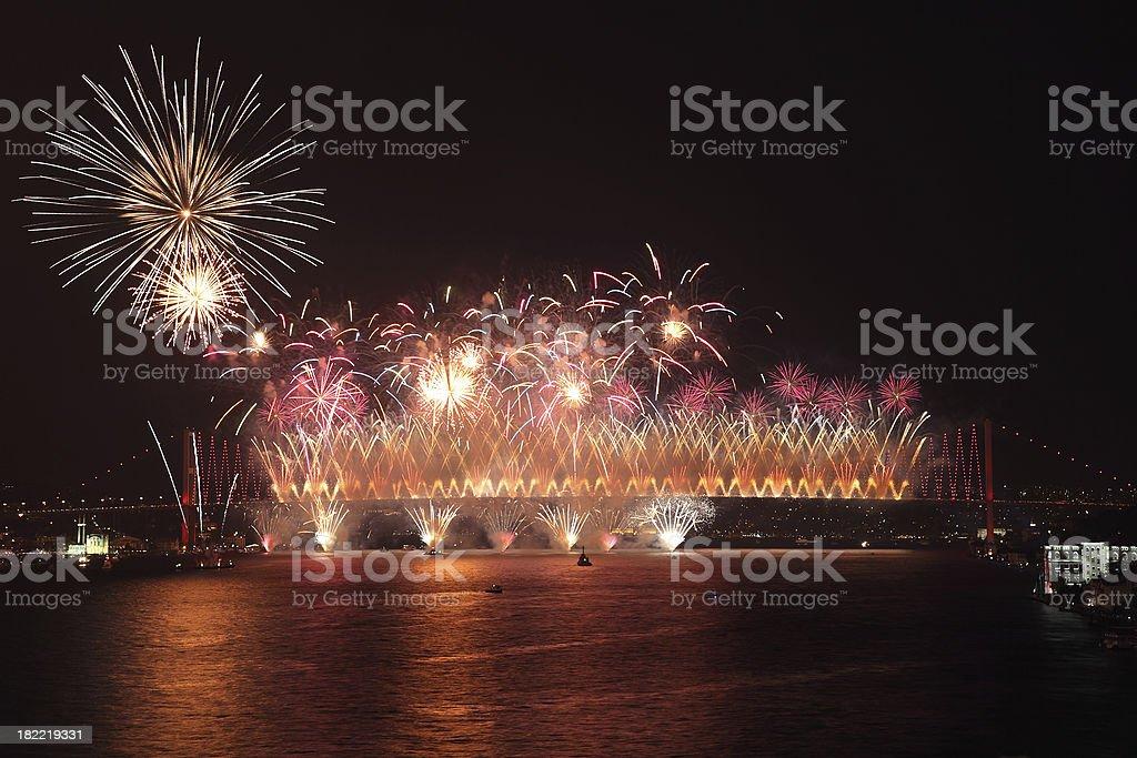 Celebration of  the Turkish Republic Day and  Bosphorus Bridge royalty-free stock photo