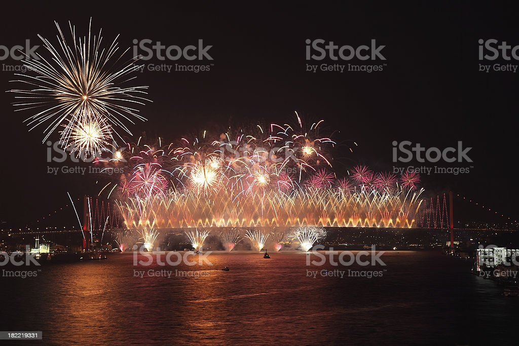 Celebration of  the Turkish Republic Day and  Bosphorus Bridge stock photo
