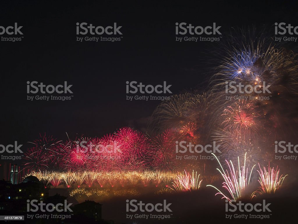 Celebration of the Turkish Republic Day- Fireworks royalty-free stock photo