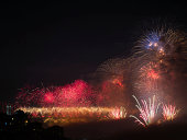 The Celebration of Turkish Republic Day with Fireworks show in Istanbul at October 29th,2013