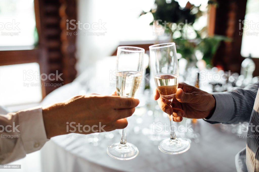 Celebration. People holding glasses of champagne making a toast royalty-free stock photo