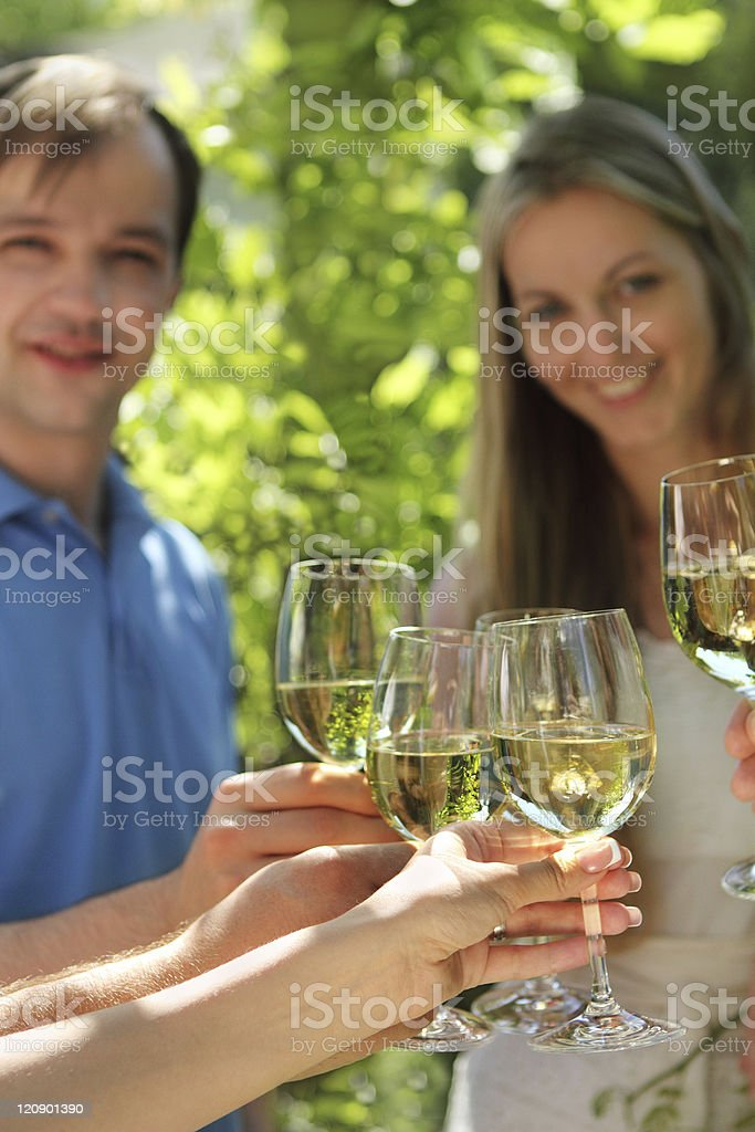 Celebration. People holding glasses of white wine making a toast royalty-free stock photo
