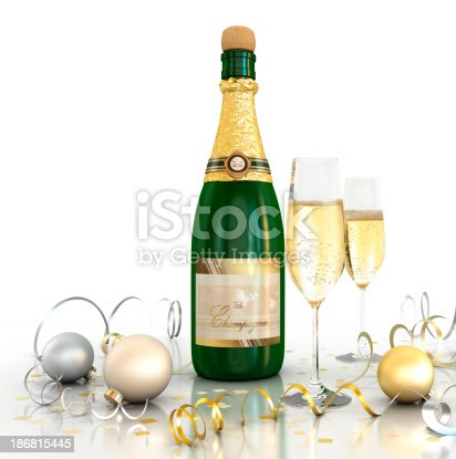 istock Celebration (Champagne - White background) 186815445