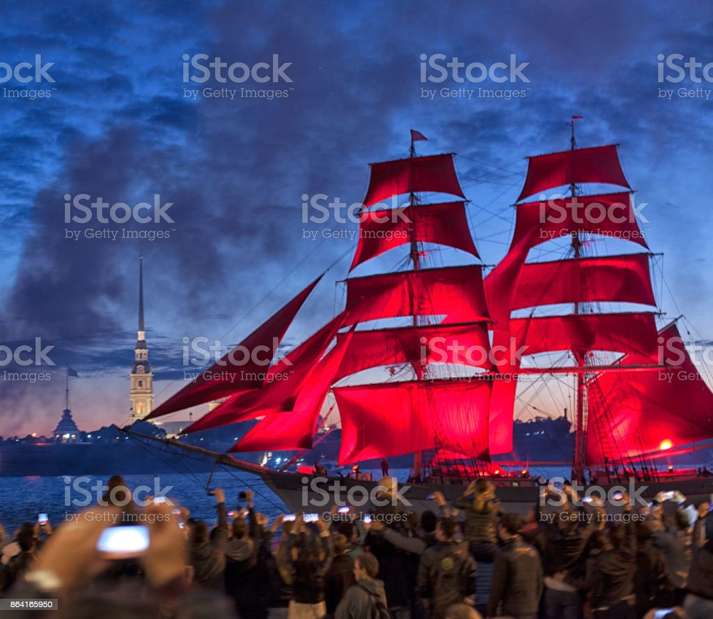 Celebration Scarlet Sails show during the White Nights Festival in St.Petersburg, Russia royalty-free stock photo
