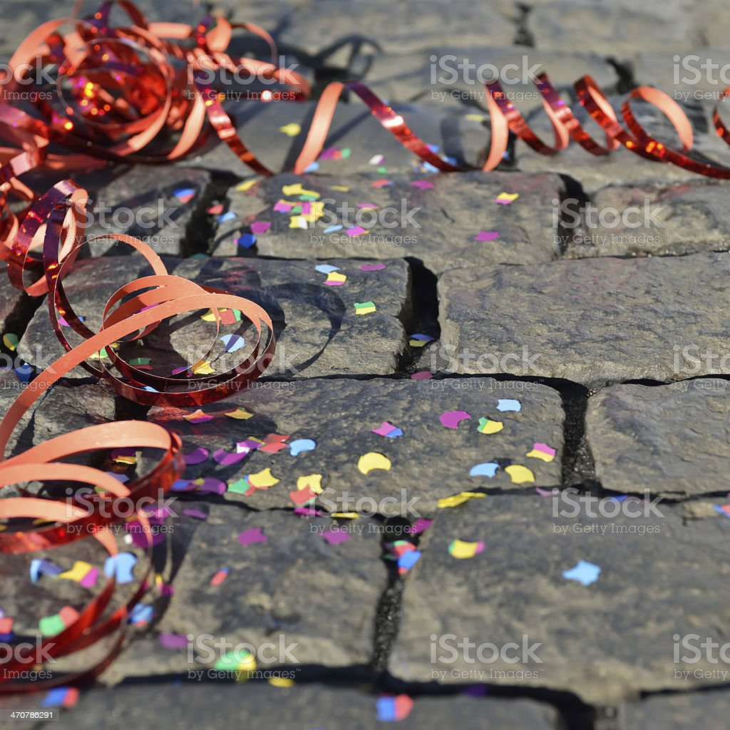 Celebration - streamers and confetti on the ground stock photo