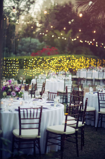 Celebration String Lights Wedding Reception Stock Photo
