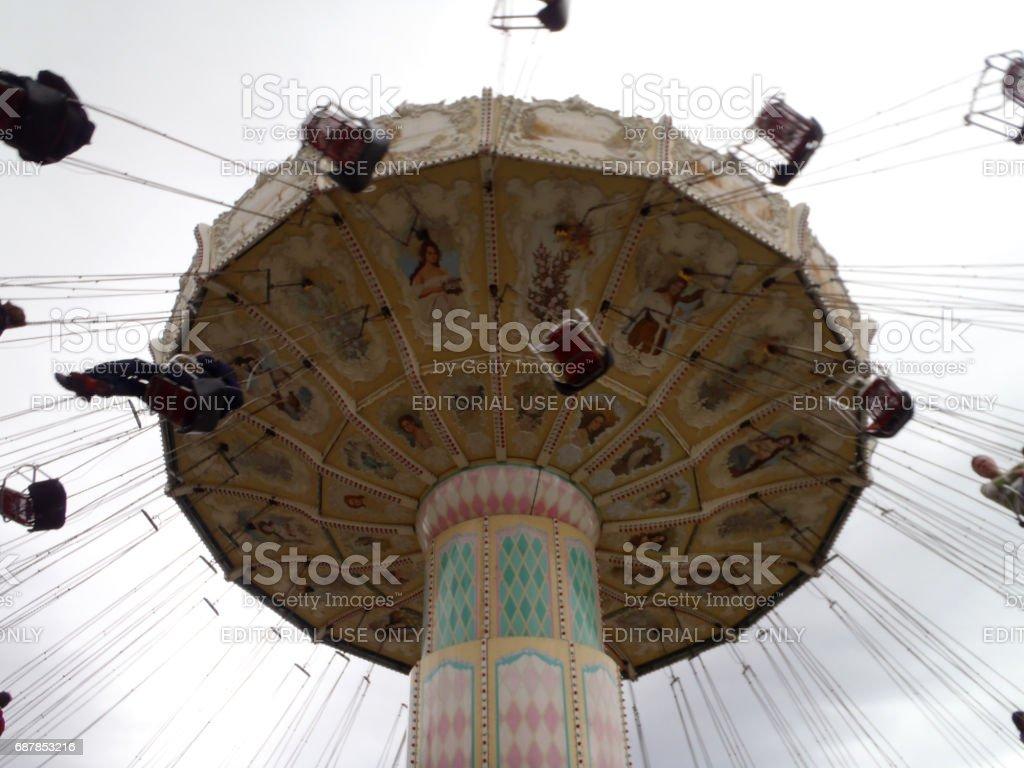 Celebration Swing carousel at Great America Park stock photo