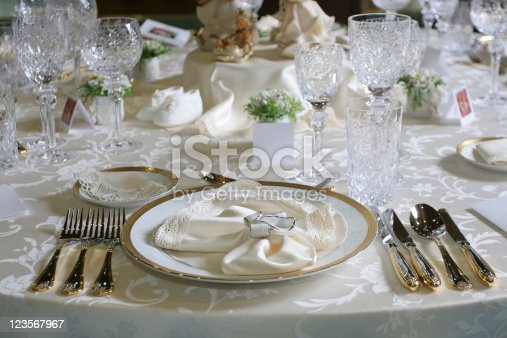 Celebration table setting. Full service...