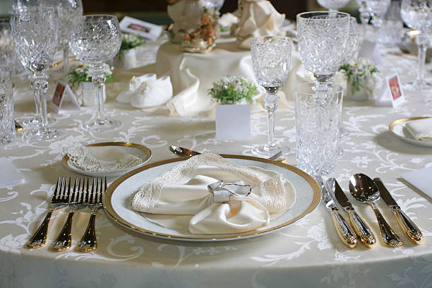 Celebration table setting stock photo