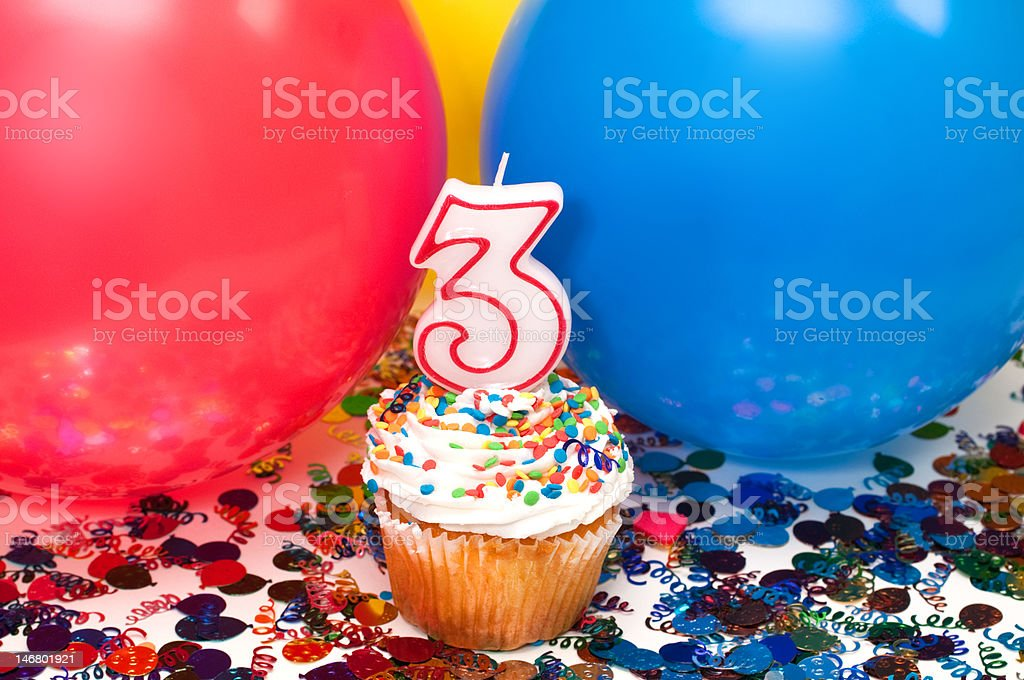 Celebration with Balloons, Confetti, and Cupcake royalty-free stock photo