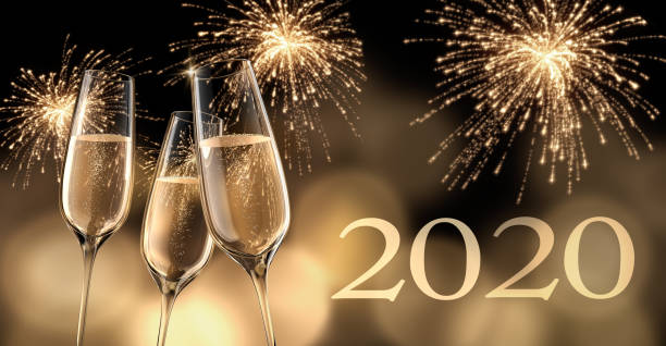 2020 Celebration with Champagne stock photo