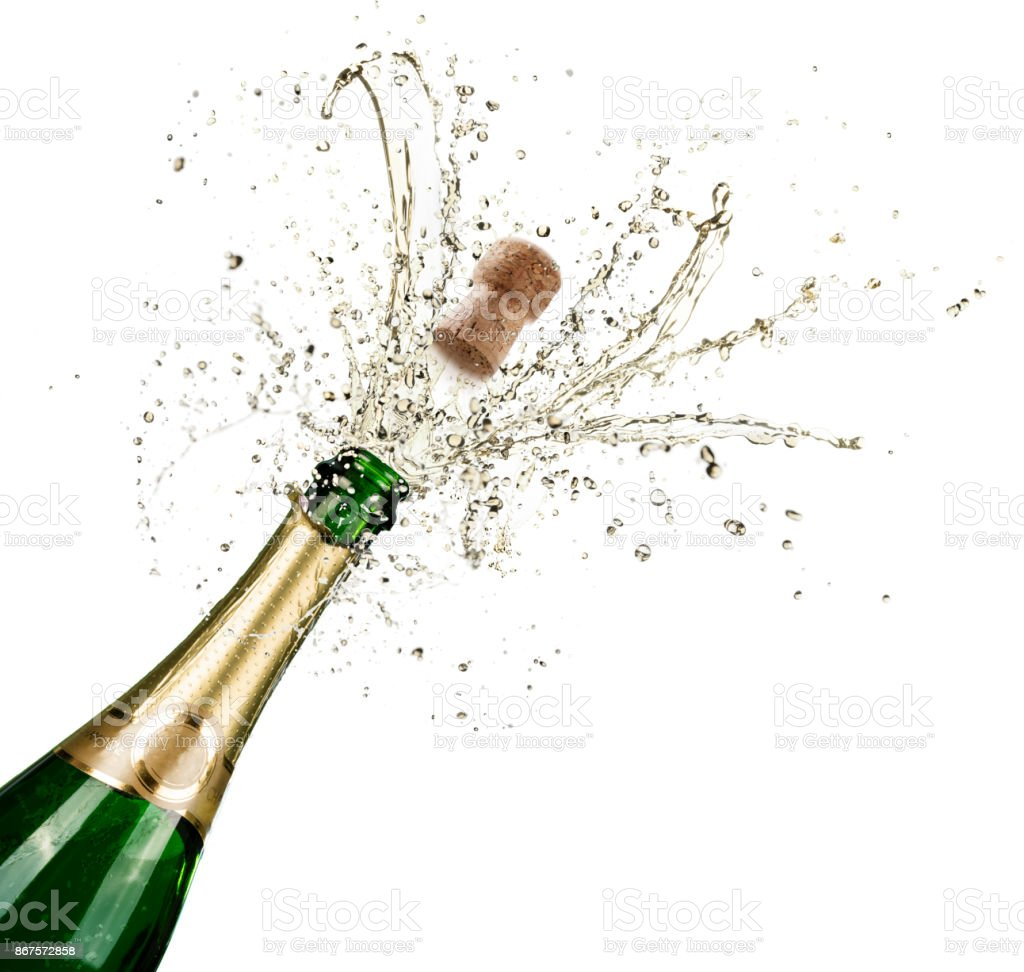 Celebration With Splashes Of Champagne stock photo