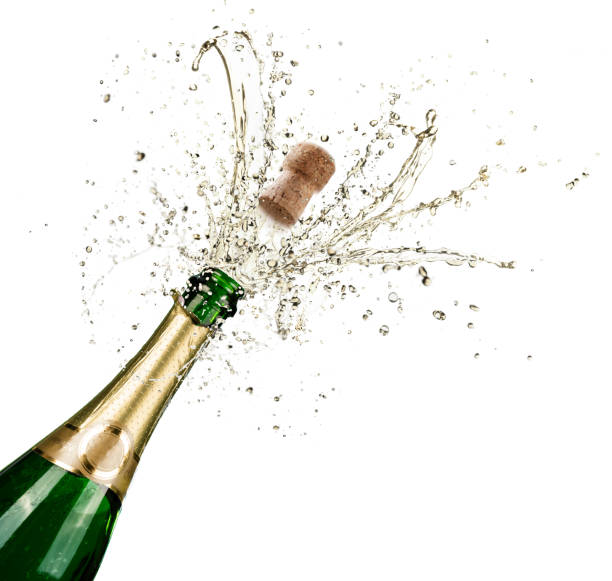 celebração com salpicos de champanhe - garrafa - fotografias e filmes do acervo
