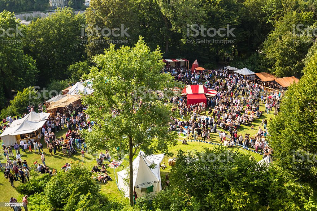 Celebration with tents and people stock photo