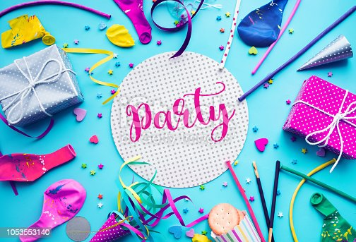 istock Celebration,party concepts ideas with colorful element,gift box present,confetti,balloon 1053553140