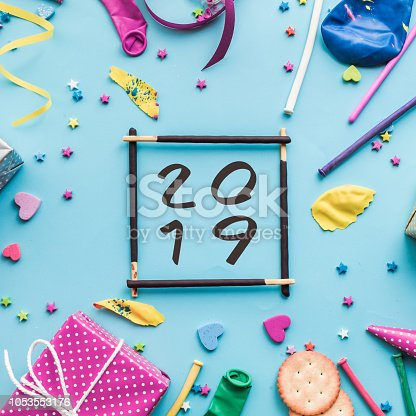 istock 2019 Celebration,party concepts ideas with colorful element,gift box present,confetti,balloon 1053553176