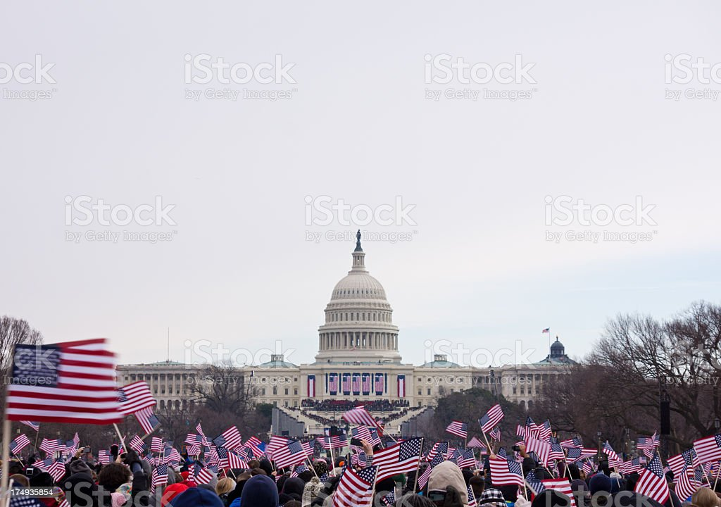 Celebrations at the 2013 inauguration of president Obama stock photo