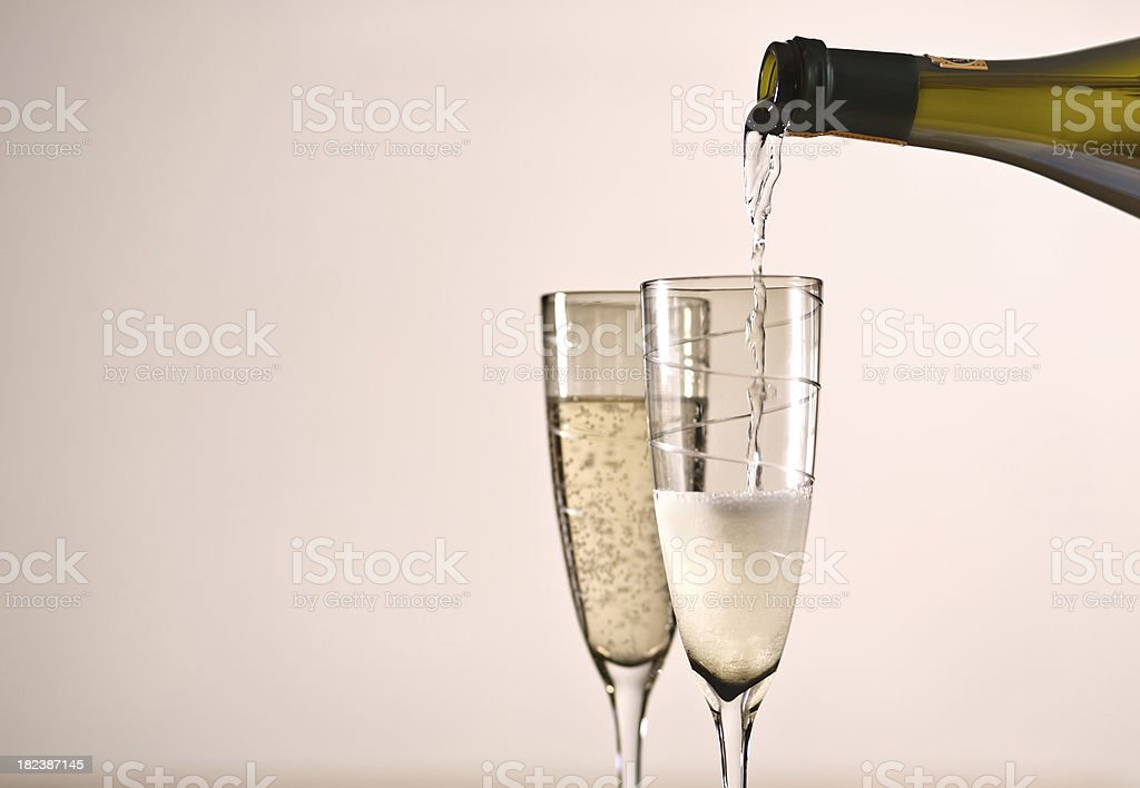 Celebrations champagne parties New Year success two glasses stock photo