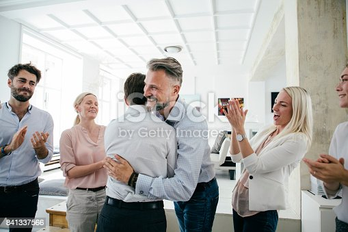istock Celebrations In Office After Successful Business Pitch By Team 841337566