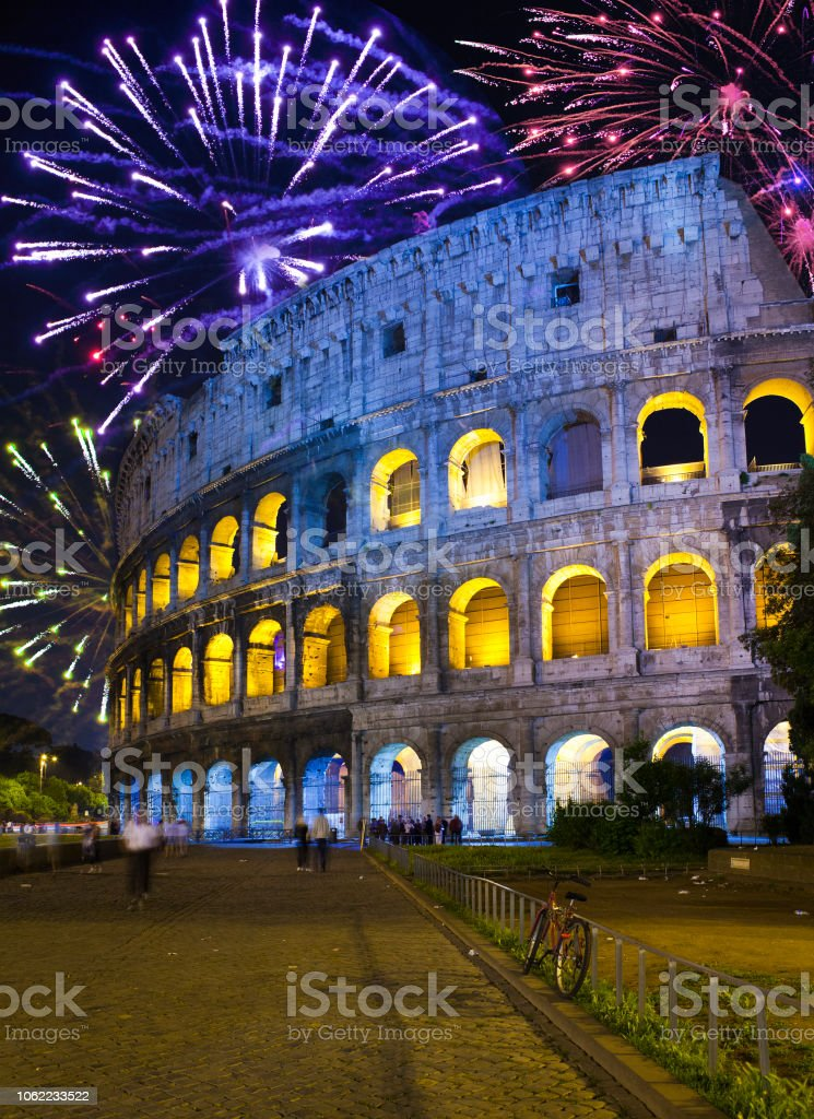 Celebratory fireworks over Collosseo. Italy. Rome stock photo
