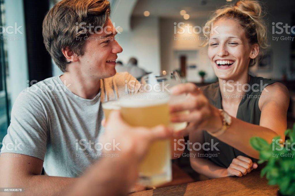Celebratory Toast in Australia stock photo