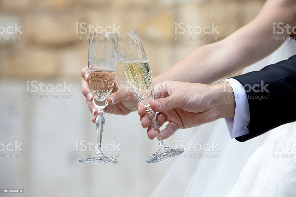 Celebratory Toast with Two Glasses of Champagne (Wedding Banquet) - foto de stock