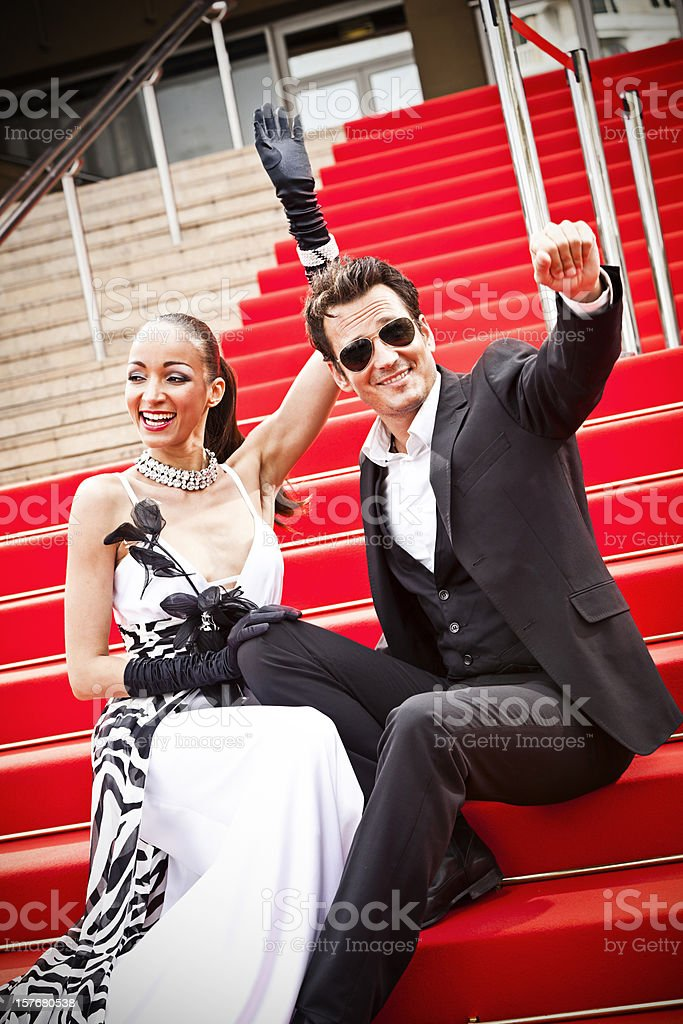 Celebrity couple on red carpet in Cannes royalty-free stock photo