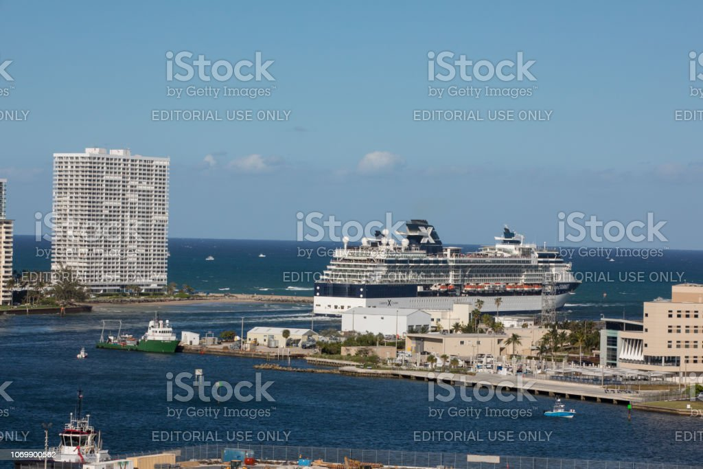 Celebrity cruise ship leaving Port Everglades in Fort Lauderdale, Florida stock photo