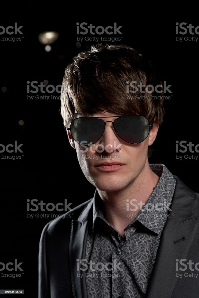 Celebrity wearing sunglasses royalty-free stock photo