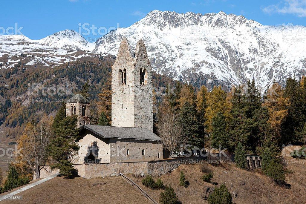 Celerina, Engadine, Switzerland: Church of San Gian in Indian Summer royalty-free stock photo
