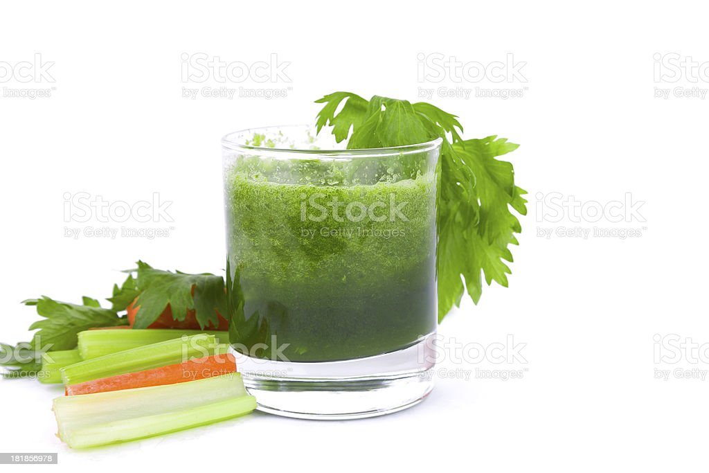 celery juice and carrot isolated on white background royalty-free stock photo