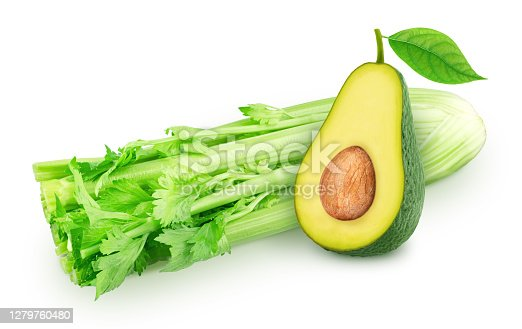 Celery leaves and avocado, on a white background. Clip art image for package design.