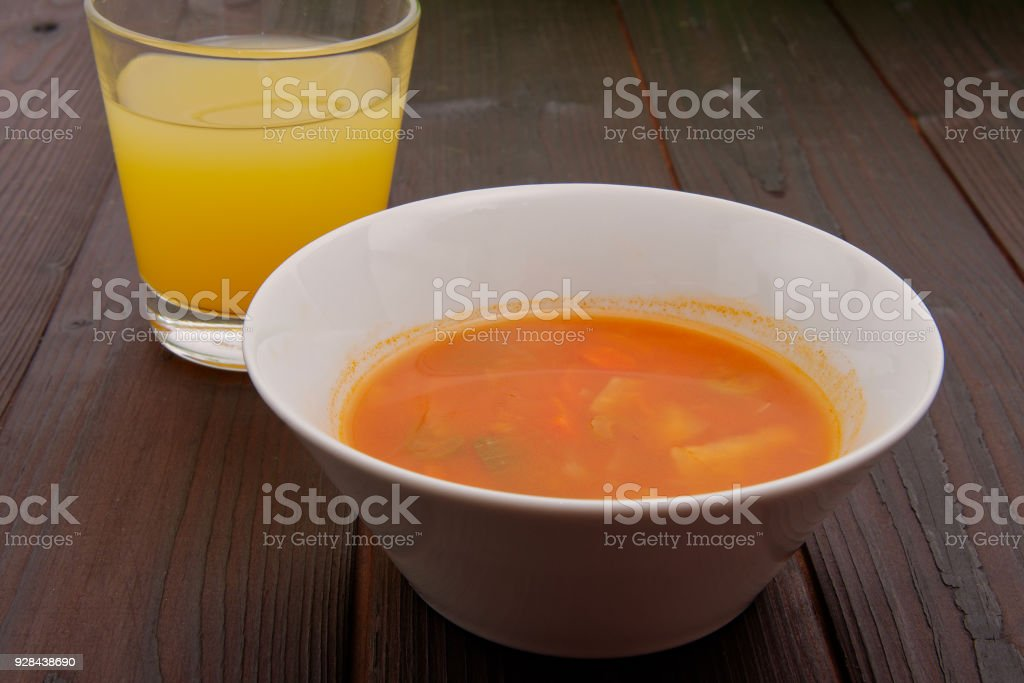 Celery soup with vegetables stock photo