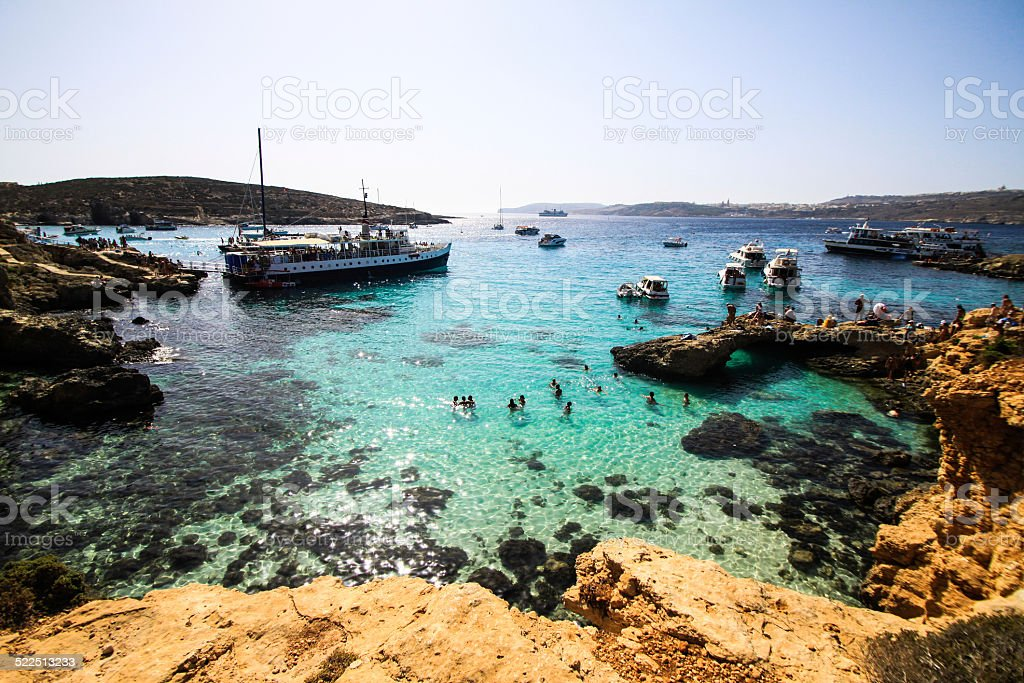 celestial view of blue lagoon of comino stock photo