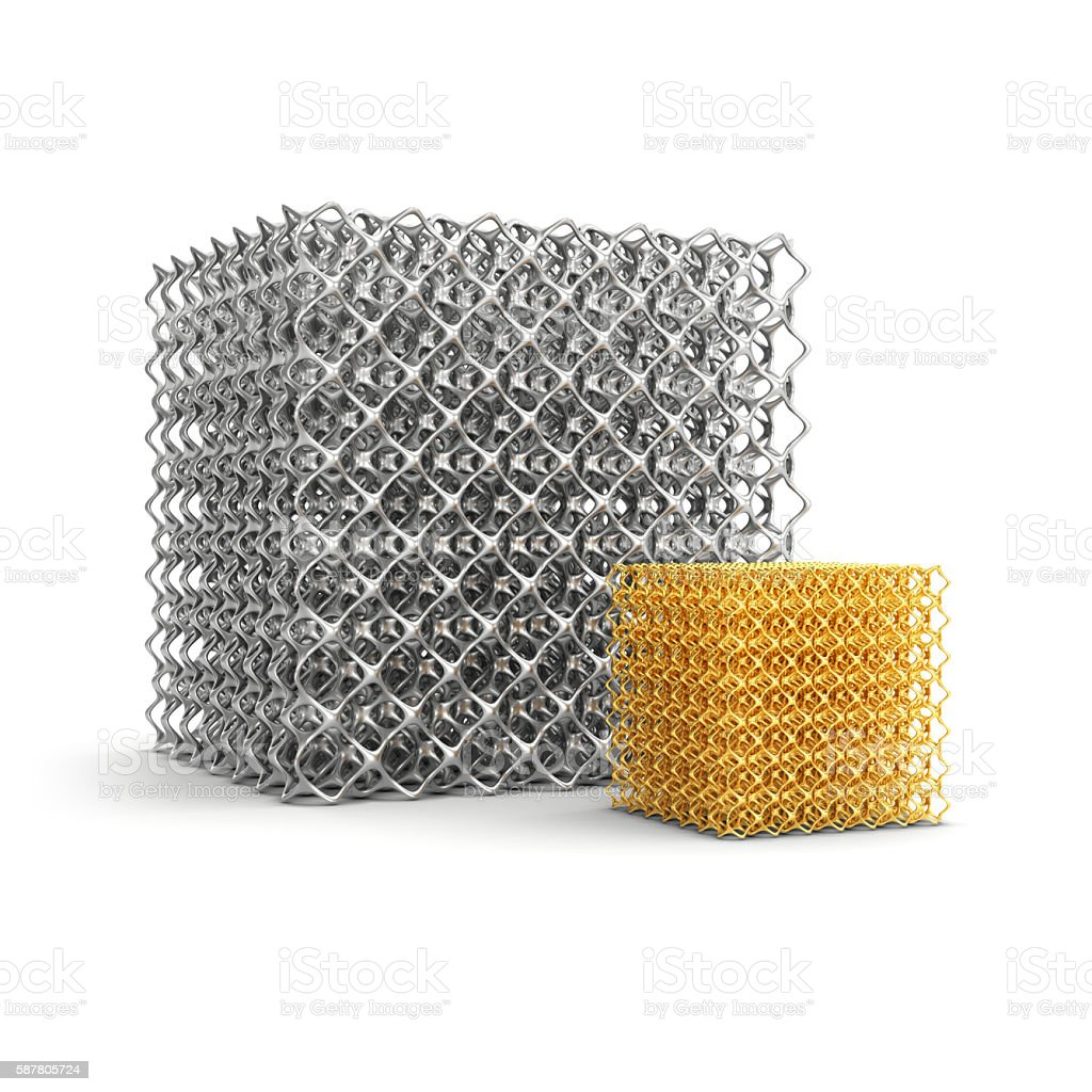 Cell cube made of steel and gold - foto de stock
