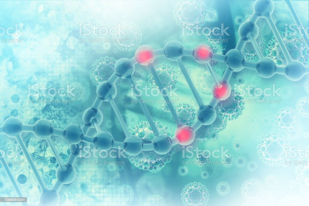 DNA cell on scientific background stock photo