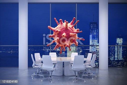 Concept image of Corona virus cell over a round table with armchairs around. Render