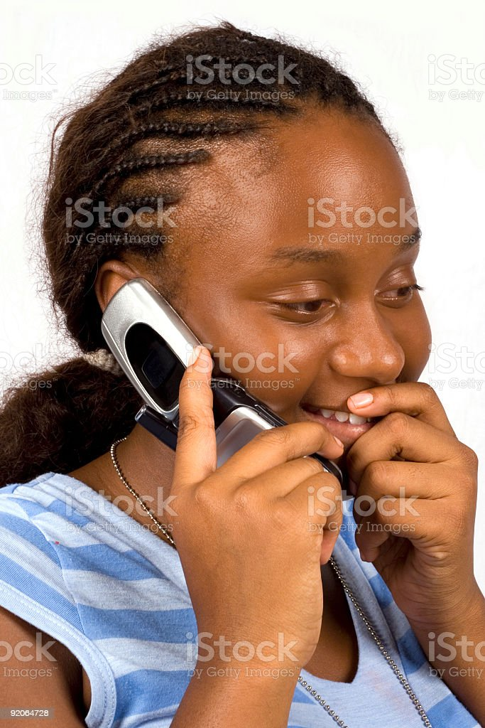 cell phone conversation stock photo