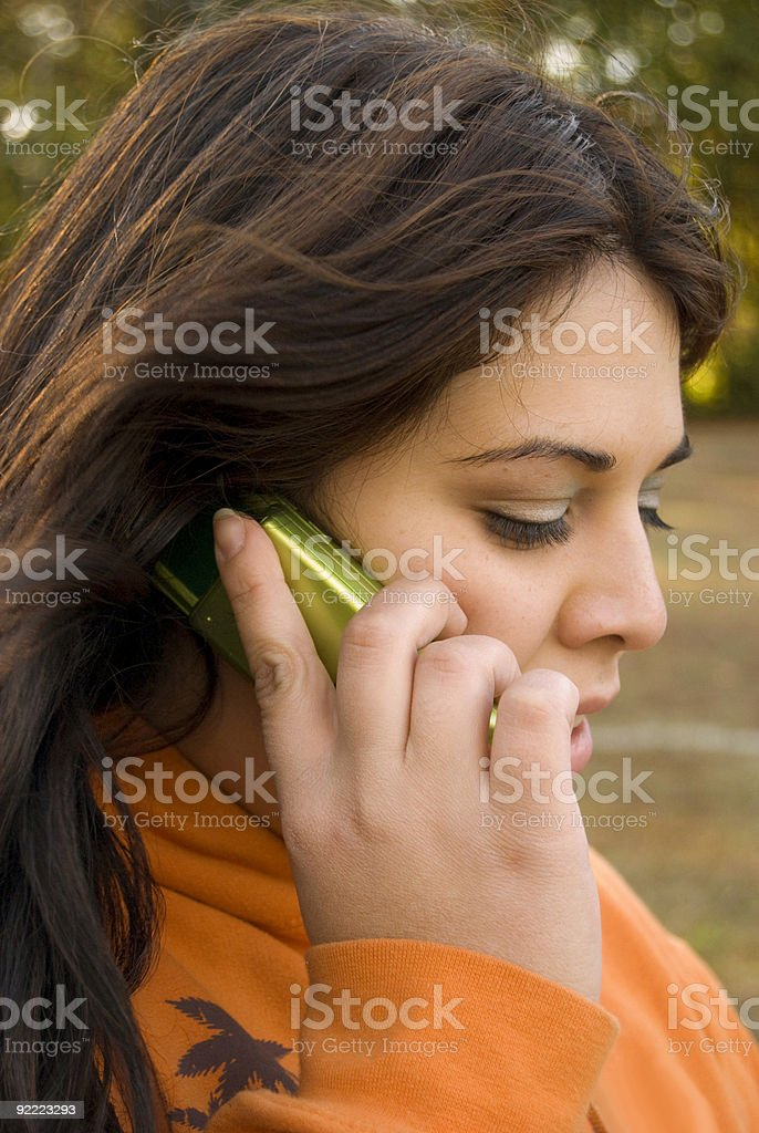 cell phone conversation royalty-free stock photo