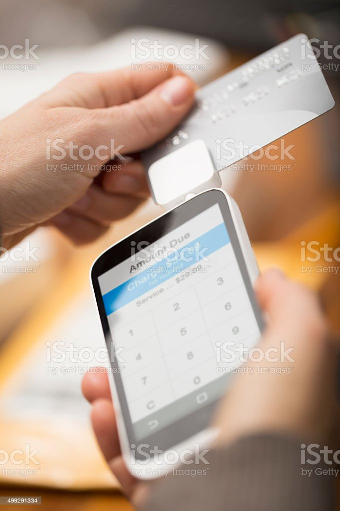 Cell Phone Credit Card Reader stock photo